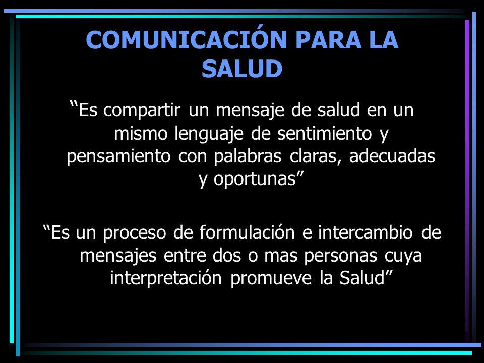 COMUNICACIÓN PARA LA SALUD Es compartir un mensaje de salud en un mismo lenguaje de sentimiento y pensamiento con palabras claras, adecuadas y oportun