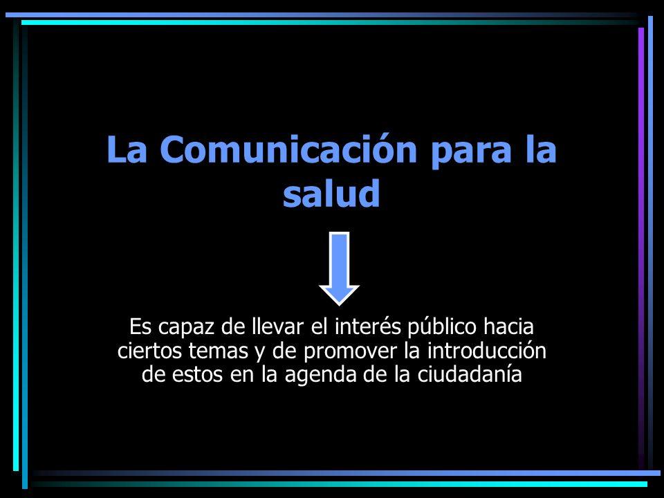 La Comunicación para la salud Es capaz de llevar el interés público hacia ciertos temas y de promover la introducción de estos en la agenda de la ciud