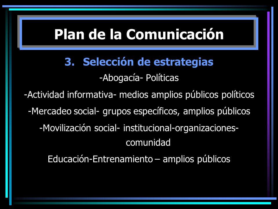 3.Selección de estrategias -Abogacía- Políticas -Actividad informativa- medios amplios públicos políticos -Mercadeo social- grupos específicos, amplio
