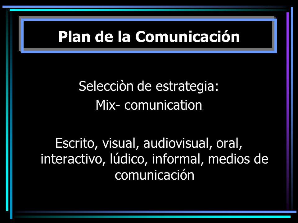 Selecciòn de estrategia: Mix- comunication Escrito, visual, audiovisual, oral, interactivo, lúdico, informal, medios de comunicación Plan de la Comuni
