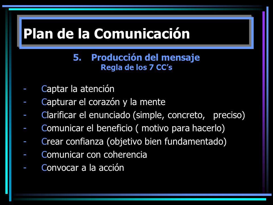 5.Producción del mensaje Regla de los 7 CCs -Captar la atención -Capturar el corazón y la mente -Clarificar el enunciado (simple, concreto, preciso) -