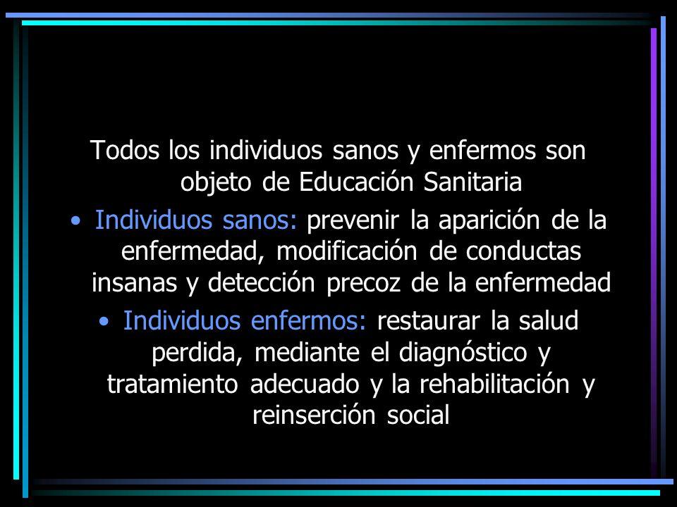 Todos los individuos sanos y enfermos son objeto de Educación Sanitaria Individuos sanos: prevenir la aparición de la enfermedad, modificación de cond