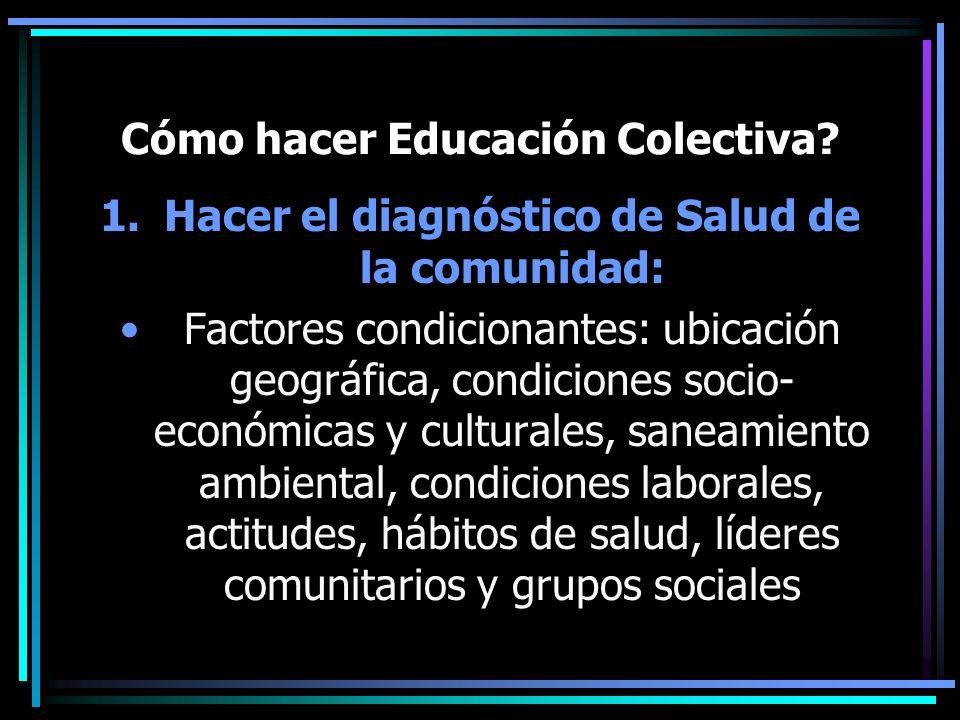 Cómo hacer Educación Colectiva? 1.Hacer el diagnóstico de Salud de la comunidad: Factores condicionantes: ubicación geográfica, condiciones socio- eco