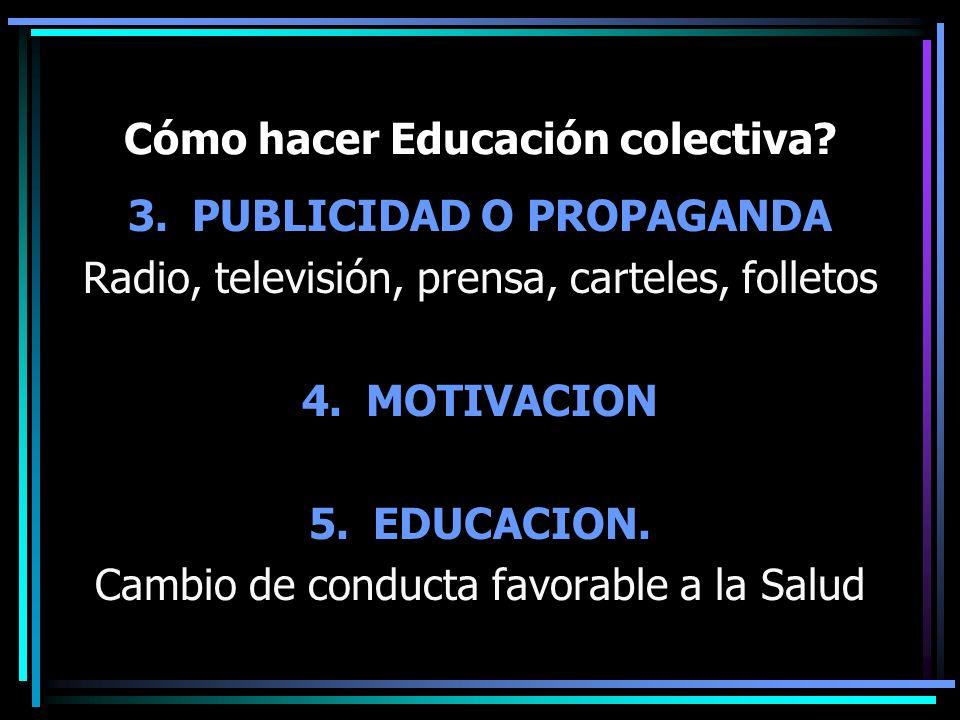 Cómo hacer Educación colectiva? 3.PUBLICIDAD O PROPAGANDA Radio, televisión, prensa, carteles, folletos 4.MOTIVACION 5.EDUCACION. Cambio de conducta f