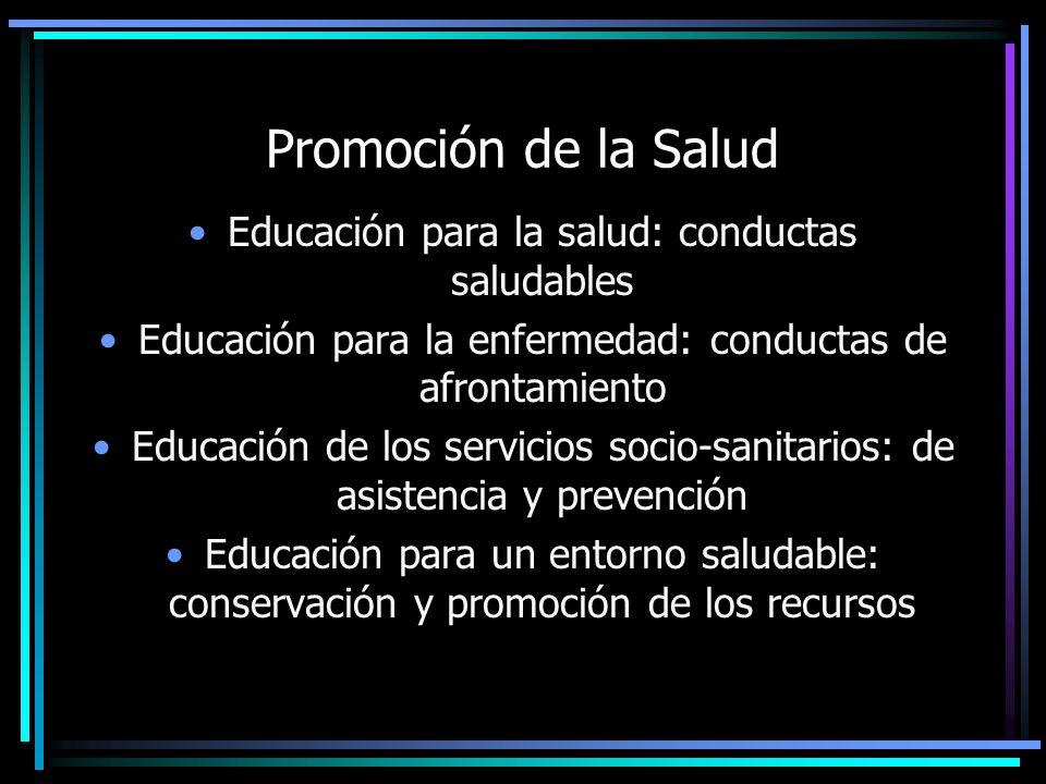 Promoción de la Salud Educación para la salud: conductas saludables Educación para la enfermedad: conductas de afrontamiento Educación de los servicio