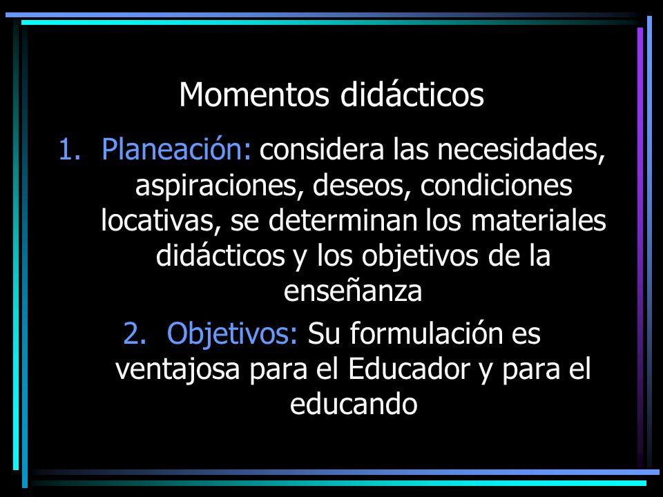 Momentos didácticos 1.Planeación: considera las necesidades, aspiraciones, deseos, condiciones locativas, se determinan los materiales didácticos y lo