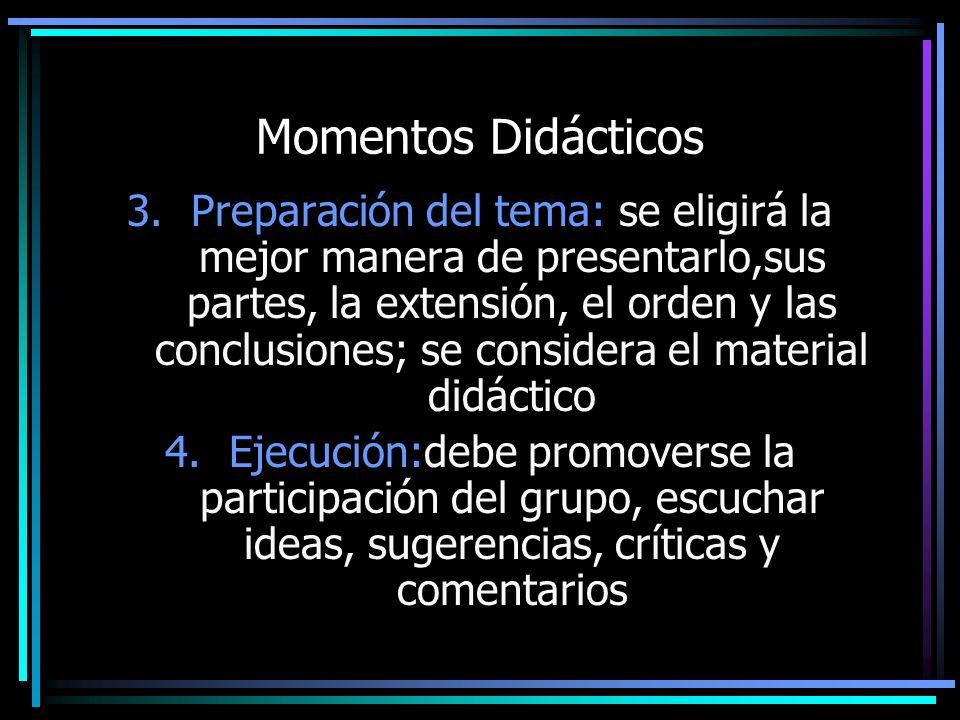 Momentos Didácticos 3.Preparación del tema: se eligirá la mejor manera de presentarlo,sus partes, la extensión, el orden y las conclusiones; se consid