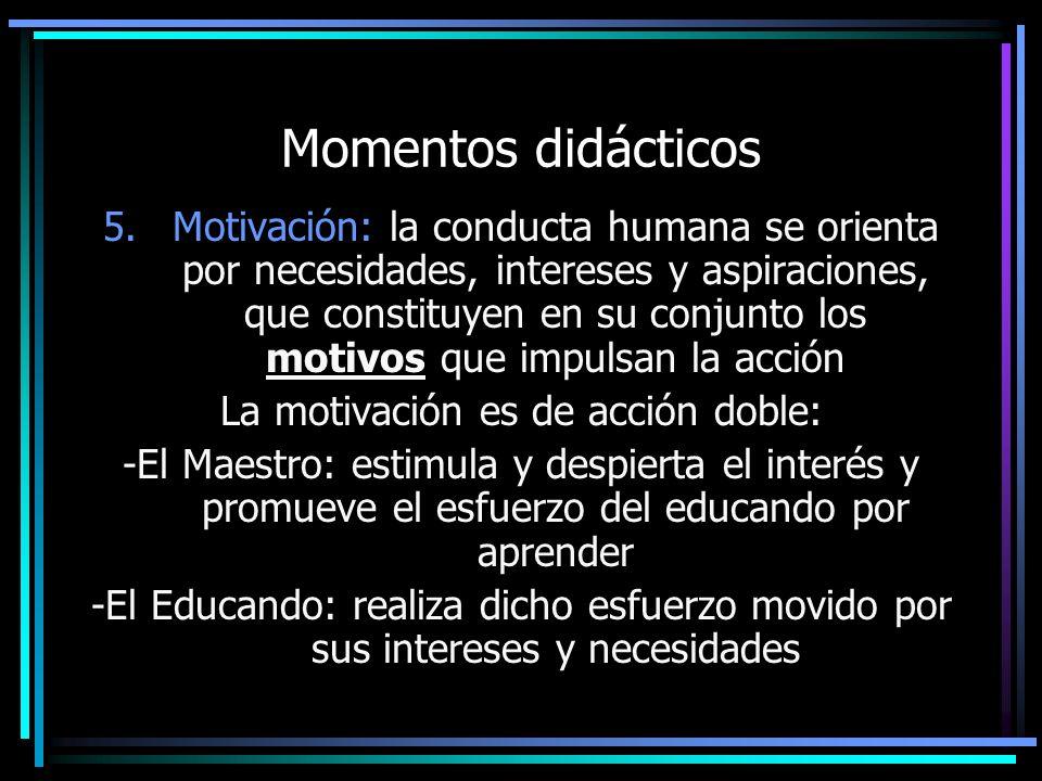 Momentos didácticos 5.Motivación: la conducta humana se orienta por necesidades, intereses y aspiraciones, que constituyen en su conjunto los motivos