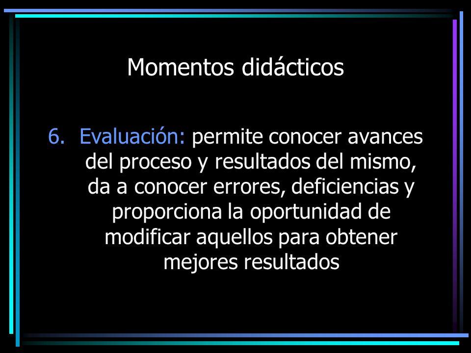 Momentos didácticos 6.Evaluación: permite conocer avances del proceso y resultados del mismo, da a conocer errores, deficiencias y proporciona la opor