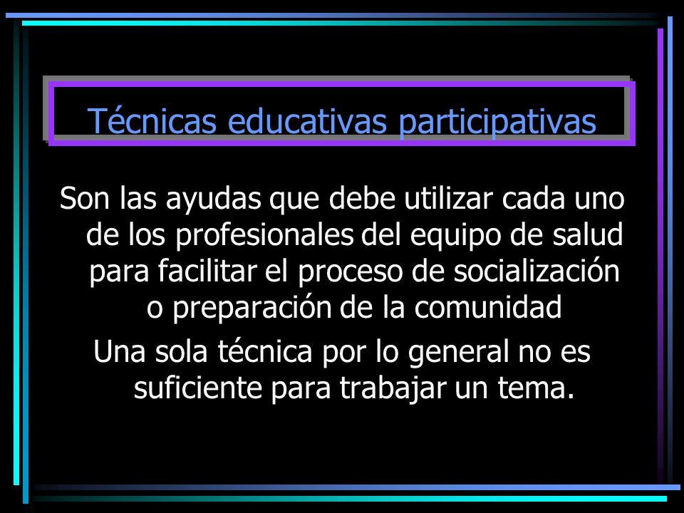 Técnicas educativas participativas Son las ayudas que debe utilizar cada uno de los profesionales del equipo de salud para facilitar el proceso de soc
