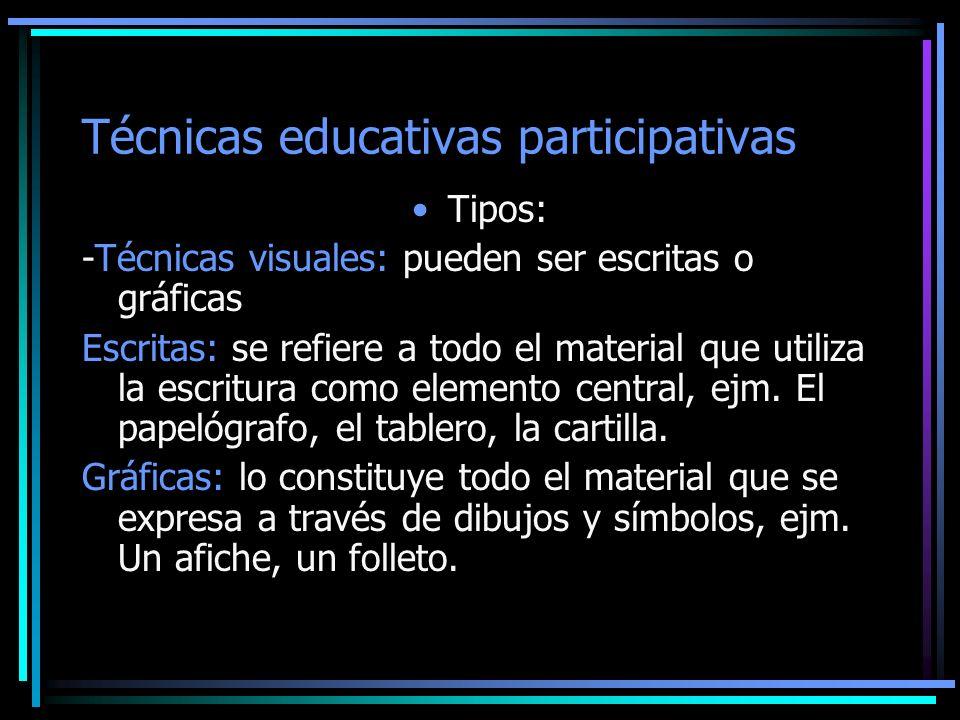 Técnicas educativas participativas Tipos: -Técnicas visuales: pueden ser escritas o gráficas Escritas: se refiere a todo el material que utiliza la es