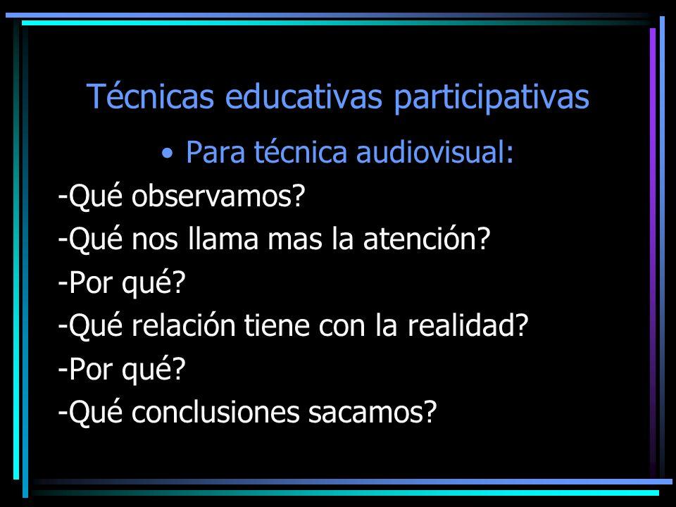 Técnicas educativas participativas Para técnica audiovisual: -Qué observamos? -Qué nos llama mas la atención? -Por qué? -Qué relación tiene con la rea