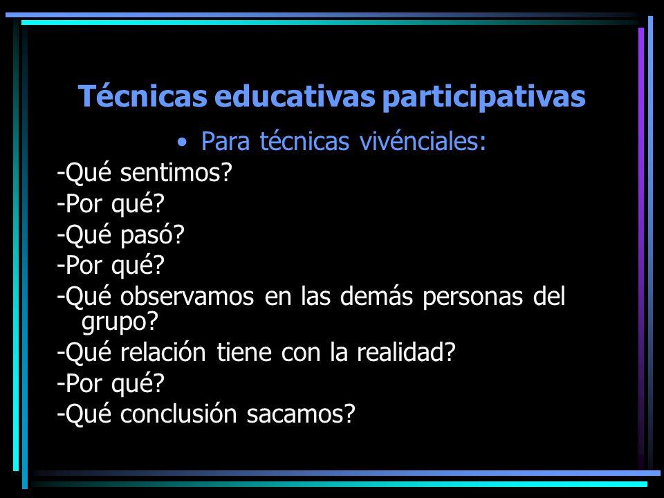 Técnicas educativas participativas Para técnicas vivénciales: -Qué sentimos? -Por qué? -Qué pasó? -Por qué? -Qué observamos en las demás personas del