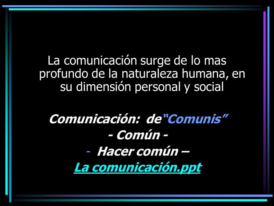 La comunicación surge de lo mas profundo de la naturaleza humana, en su dimensión personal y social Comunicación: deComunis - Común - -Hacer común – L