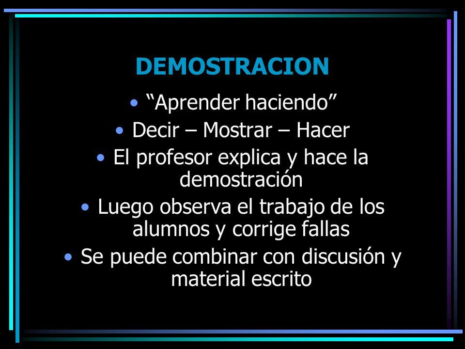 DEMOSTRACION Aprender haciendo Decir – Mostrar – Hacer El profesor explica y hace la demostración Luego observa el trabajo de los alumnos y corrige fa
