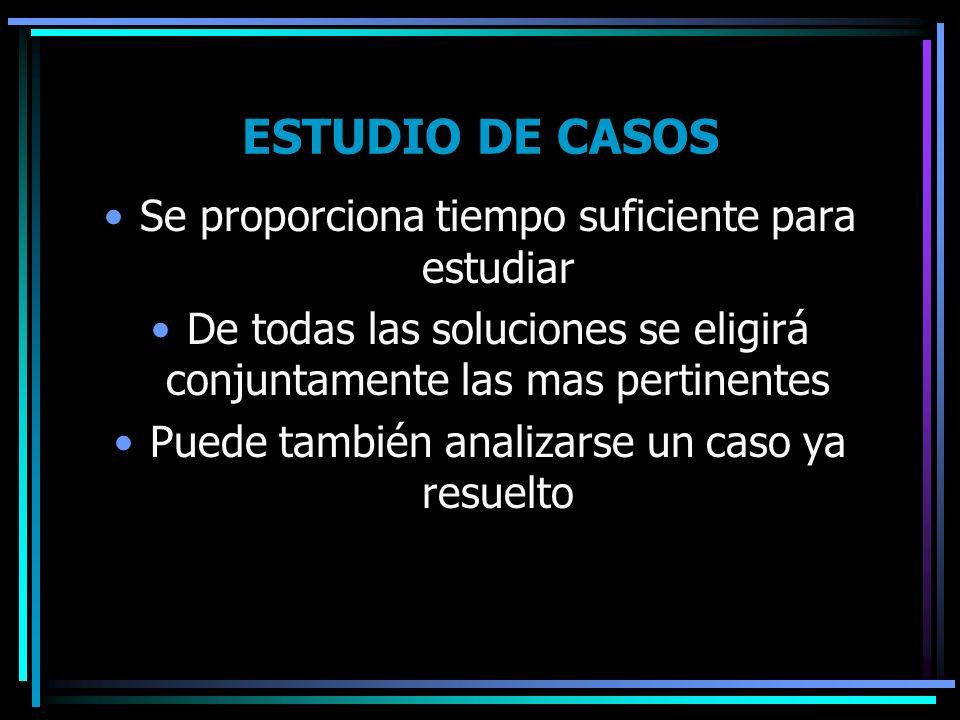 ESTUDIO DE CASOS Se proporciona tiempo suficiente para estudiar De todas las soluciones se eligirá conjuntamente las mas pertinentes Puede también ana