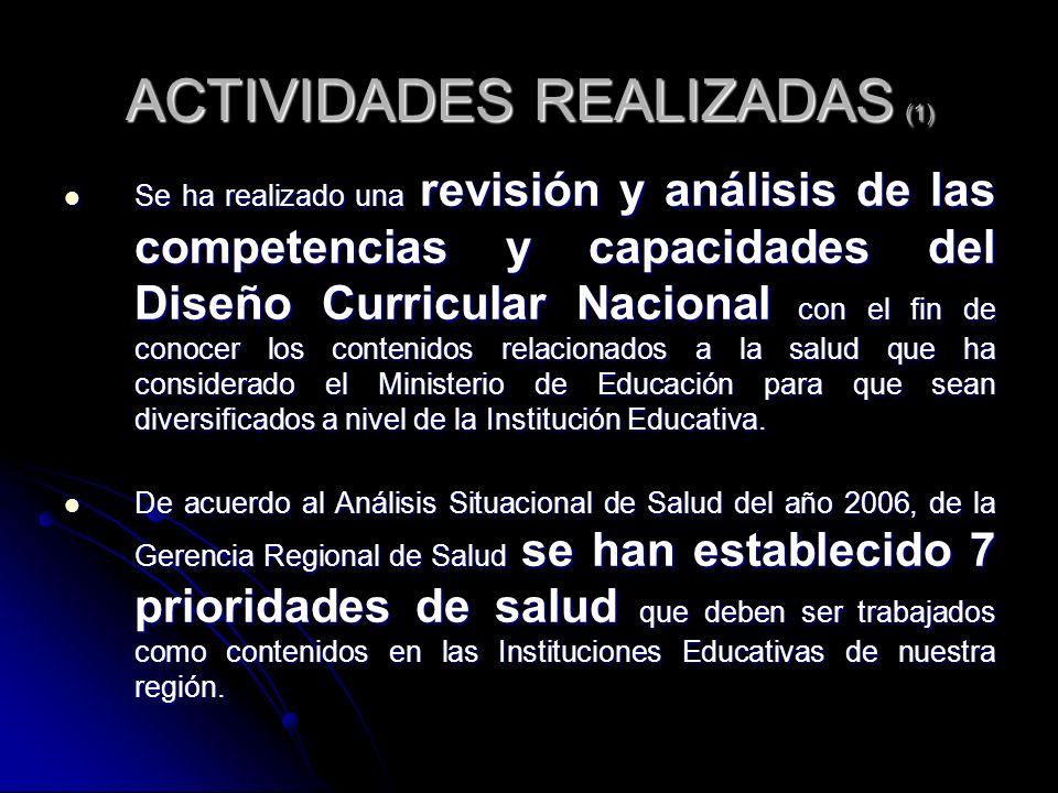 ACTIVIDADES REALIZADAS (1) Se ha realizado una revisión y análisis de las competencias y capacidades del Diseño Curricular Nacional con el fin de cono