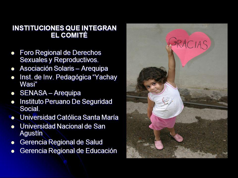 INSTITUCIONES QUE INTEGRAN EL COMITÉ Foro Regional de Derechos Sexuales y Reproductivos. Foro Regional de Derechos Sexuales y Reproductivos. Asociació