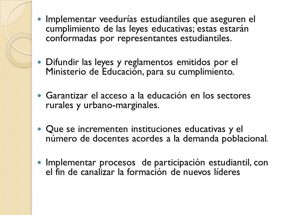 Implementar veedurías estudiantiles que aseguren el cumplimiento de las leyes educativas; estas estarán conformadas por representantes estudiantiles.