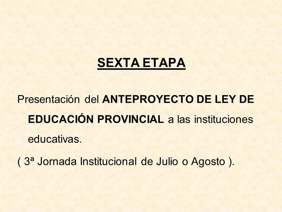 SEXTA ETAPA Presentación del ANTEPROYECTO DE LEY DE EDUCACIÓN PROVINCIAL a las instituciones educativas. ( 3ª Jornada Institucional de Julio o Agosto