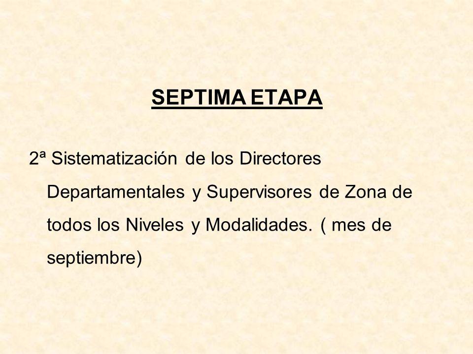 SEPTIMA ETAPA 2ª Sistematización de los Directores Departamentales y Supervisores de Zona de todos los Niveles y Modalidades. ( mes de septiembre)