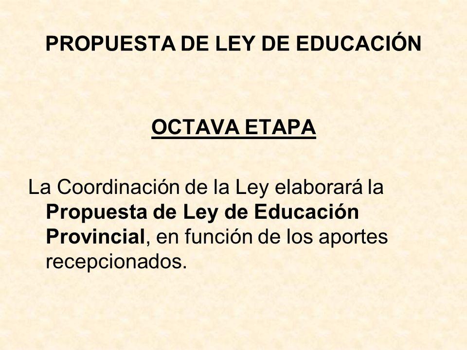 PROPUESTA DE LEY DE EDUCACIÓN OCTAVA ETAPA La Coordinación de la Ley elaborará la Propuesta de Ley de Educación Provincial, en función de los aportes