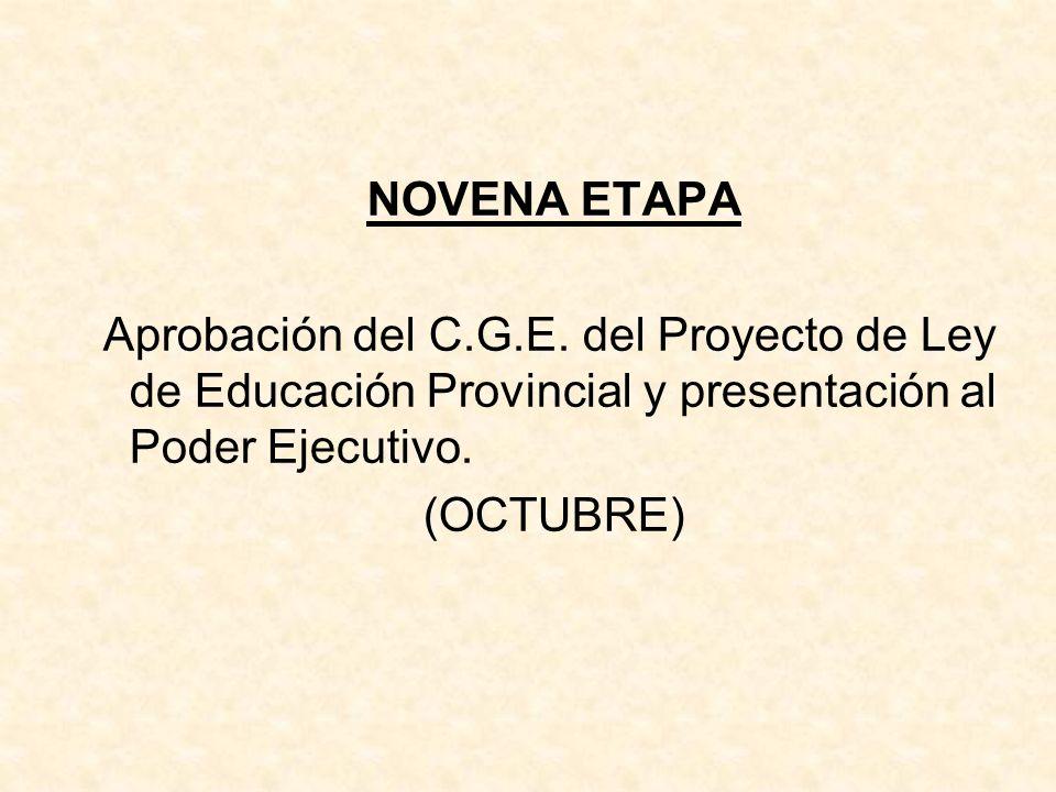 NOVENA ETAPA Aprobación del C.G.E. del Proyecto de Ley de Educación Provincial y presentación al Poder Ejecutivo. (OCTUBRE)