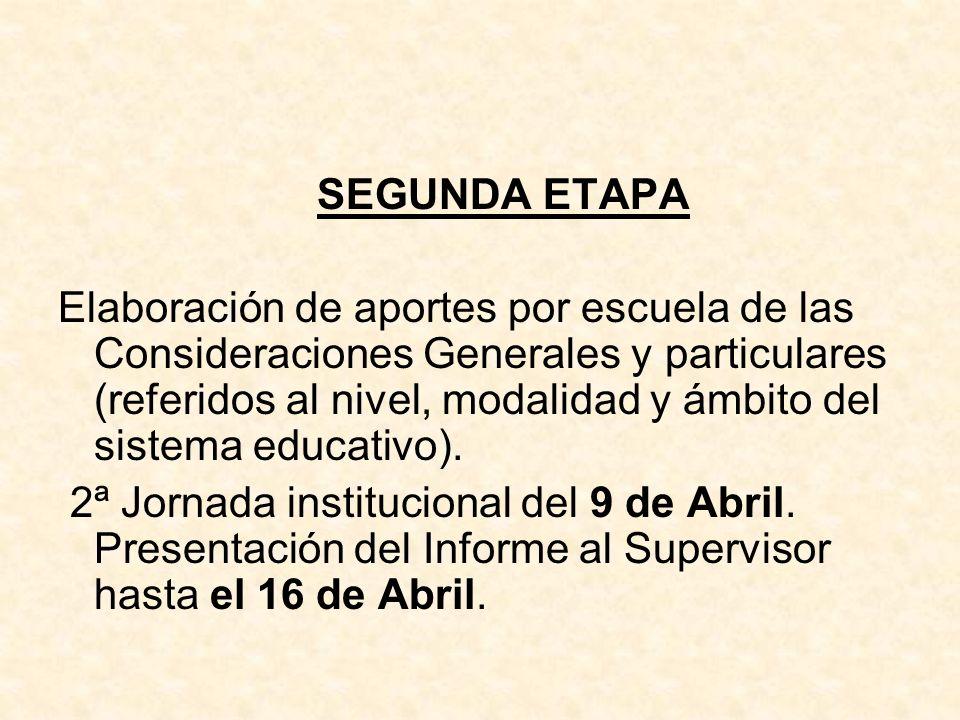 SEGUNDA ETAPA Elaboración de aportes por escuela de las Consideraciones Generales y particulares (referidos al nivel, modalidad y ámbito del sistema e