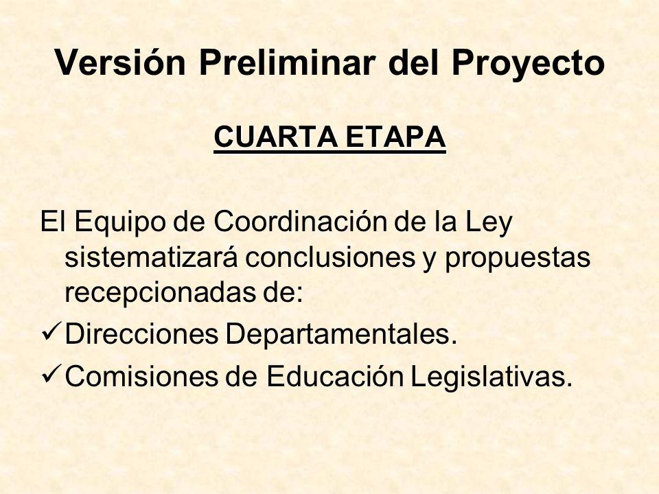 Versión Preliminar del Proyecto CUARTA ETAPA El Equipo de Coordinación de la Ley sistematizará conclusiones y propuestas recepcionadas de: Direcciones Departamentales.