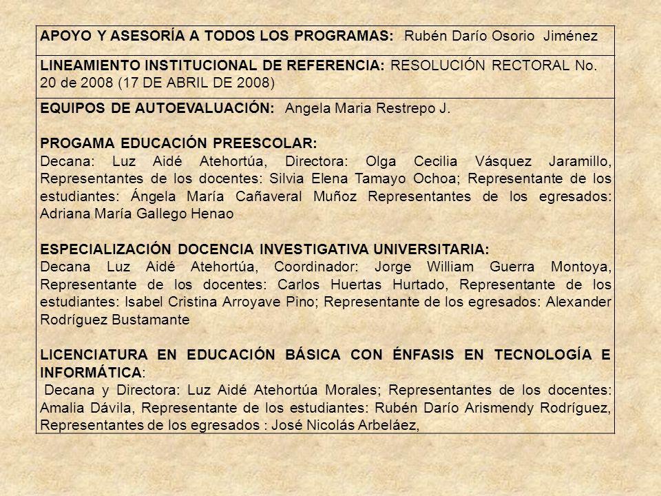 APOYO Y ASESORÍA A TODOS LOS PROGRAMAS: Rubén Darío Osorio Jiménez LINEAMIENTO INSTITUCIONAL DE REFERENCIA: RESOLUCIÓN RECTORAL No. 20 de 2008 (17 DE