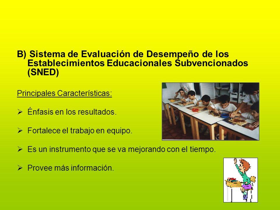 B) Sistema de Evaluación de Desempeño de los Establecimientos Educacionales Subvencionados (SNED) Principales Características: Énfasis en los resultad