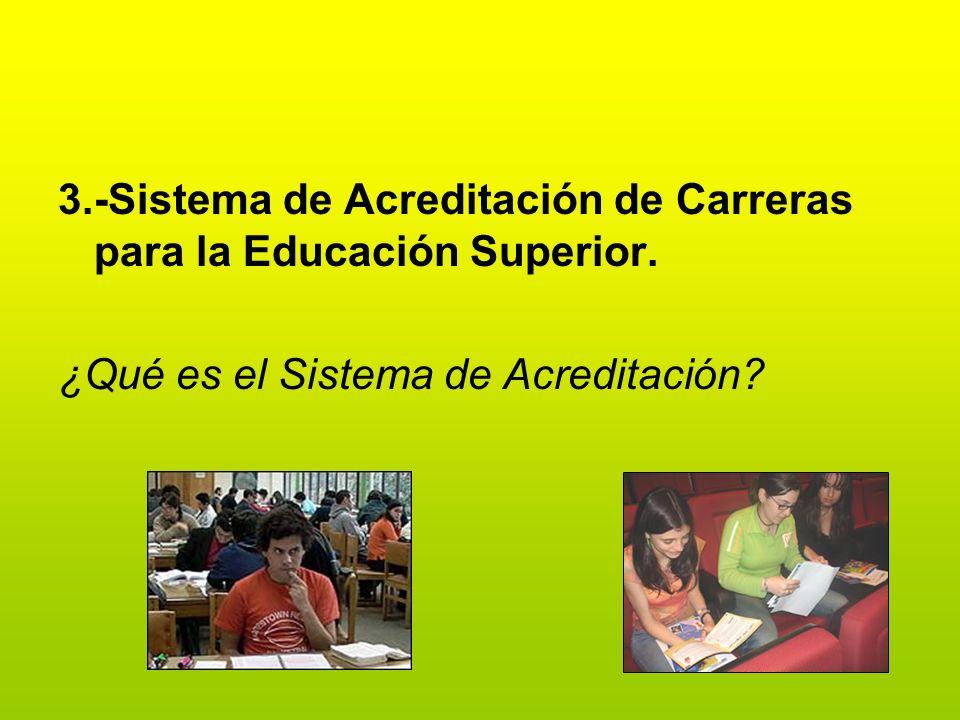 3.-Sistema de Acreditación de Carreras para la Educación Superior. ¿Qué es el Sistema de Acreditación?