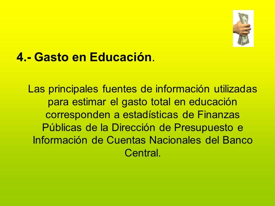 4.- Gasto en Educación. Las principales fuentes de información utilizadas para estimar el gasto total en educación corresponden a estadísticas de Fina