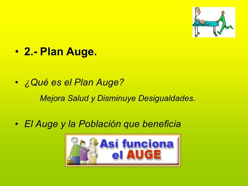 2.- Plan Auge. ¿Qué es el Plan Auge? Mejora Salud y Disminuye Desigualdades. El Auge y la Población que beneficia