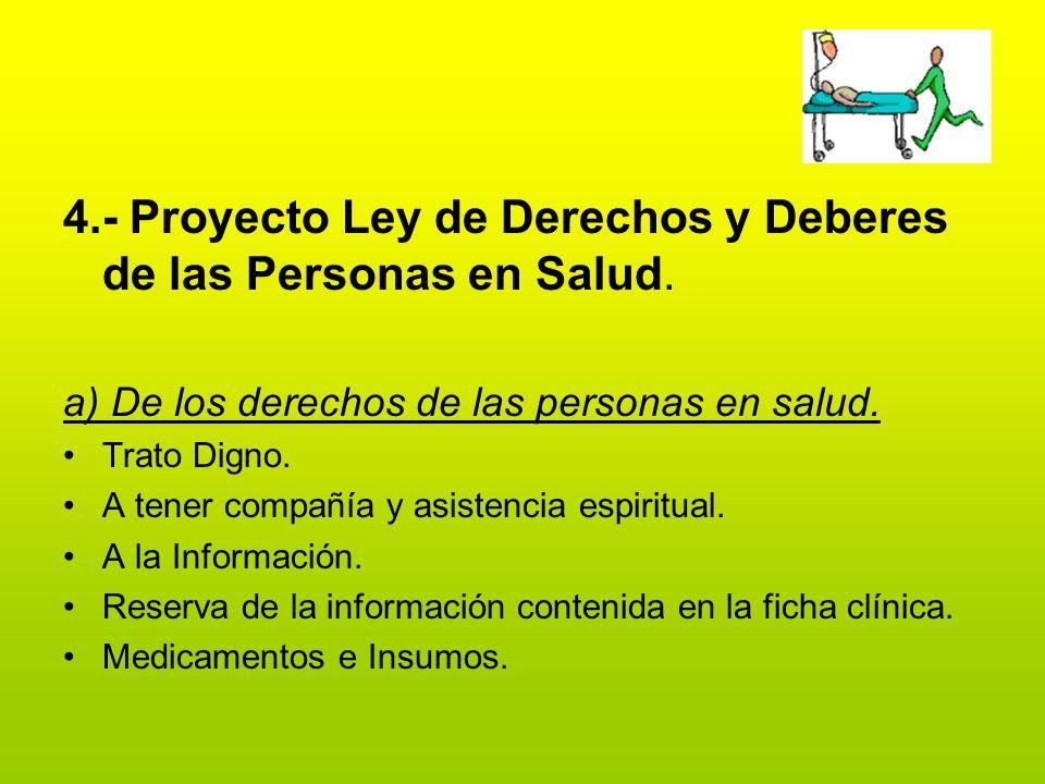 4.- Proyecto Ley de Derechos y Deberes de las Personas en Salud. a) De los derechos de las personas en salud. Trato Digno. A tener compañía y asistenc