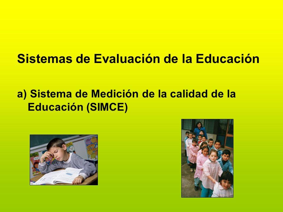 Sistemas de Evaluación de la Educación a) Sistema de Medición de la calidad de la Educación (SIMCE)