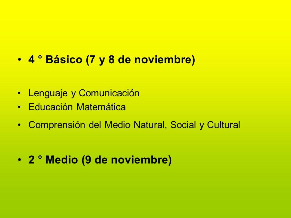 4 ° Básico (7 y 8 de noviembre) Lenguaje y Comunicación Educación Matemática Comprensión del Medio Natural, Social y Cultural 2 ° Medio (9 de noviembr