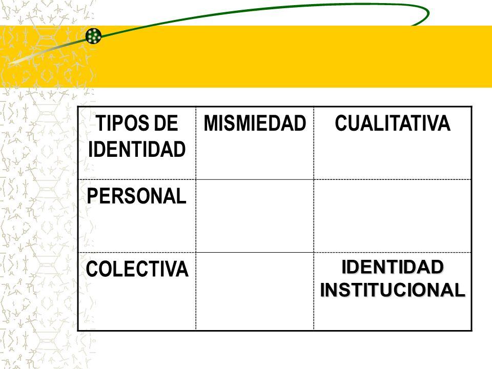 TIPOS DE IDENTIDAD MISMIEDADCUALITATIVA PERSONAL COLECTIVA IDENTIDAD INSTITUCIONAL