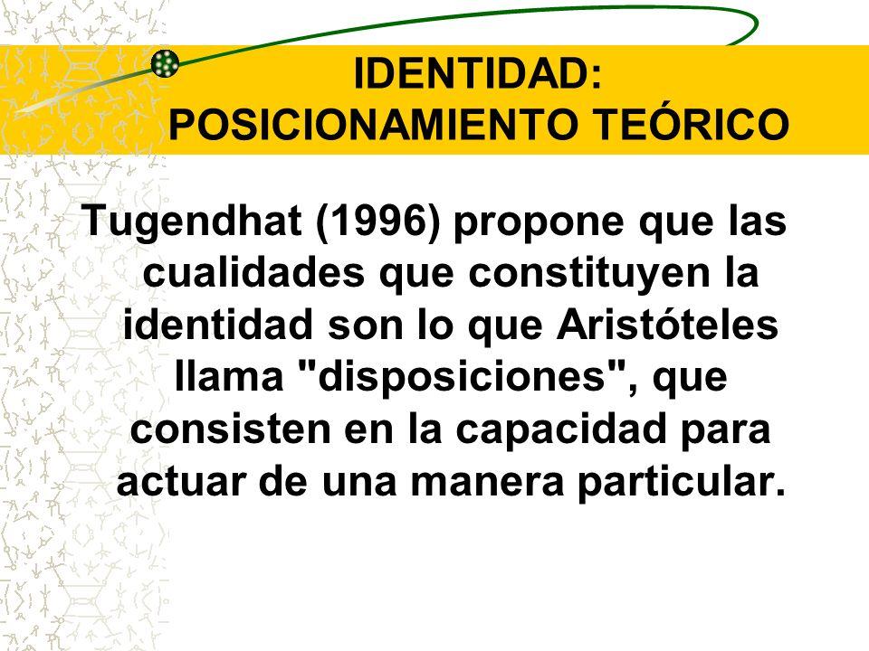 IDENTIDAD: POSICIONAMIENTO TEÓRICO Tugendhat (1996) propone que las cualidades que constituyen la identidad son lo que Aristóteles llama
