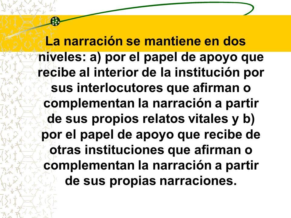 La narración se mantiene en dos niveles: a) por el papel de apoyo que recibe al interior de la institución por sus interlocutores que afirman o comple