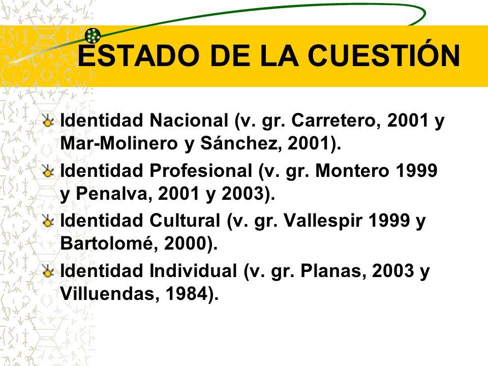 ESTADO DE LA CUESTIÓN Identidad Nacional (v. gr. Carretero, 2001 y Mar-Molinero y Sánchez, 2001). Identidad Profesional (v. gr. Montero 1999 y Penalva
