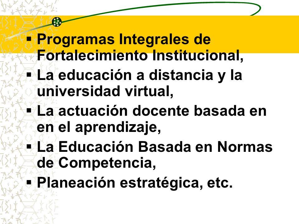 Programas Integrales de Fortalecimiento Institucional, La educación a distancia y la universidad virtual, La actuación docente basada en en el aprendi