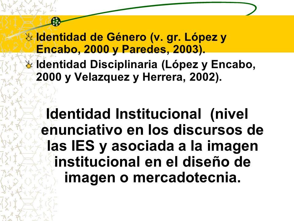 Identidad de Género (v. gr. López y Encabo, 2000 y Paredes, 2003). Identidad Disciplinaria (López y Encabo, 2000 y Velazquez y Herrera, 2002). Identid