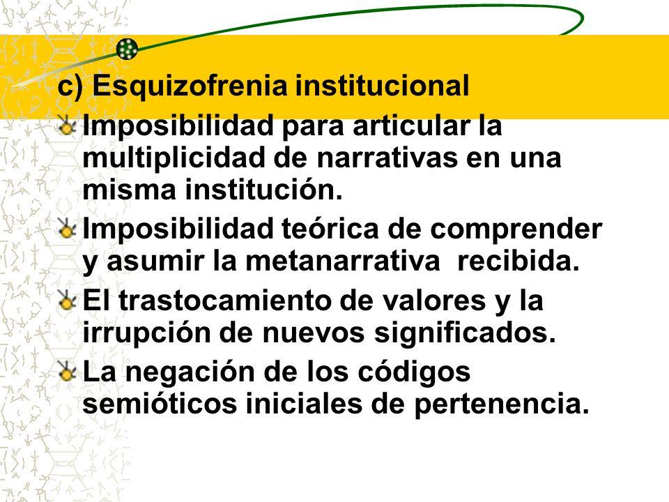 c) Esquizofrenia institucional Imposibilidad para articular la multiplicidad de narrativas en una misma institución. Imposibilidad teórica de comprend
