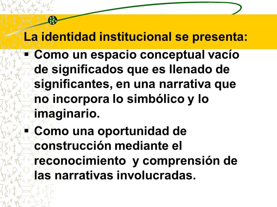 La identidad institucional se presenta: Como un espacio conceptual vacío de significados que es llenado de significantes, en una narrativa que no inco