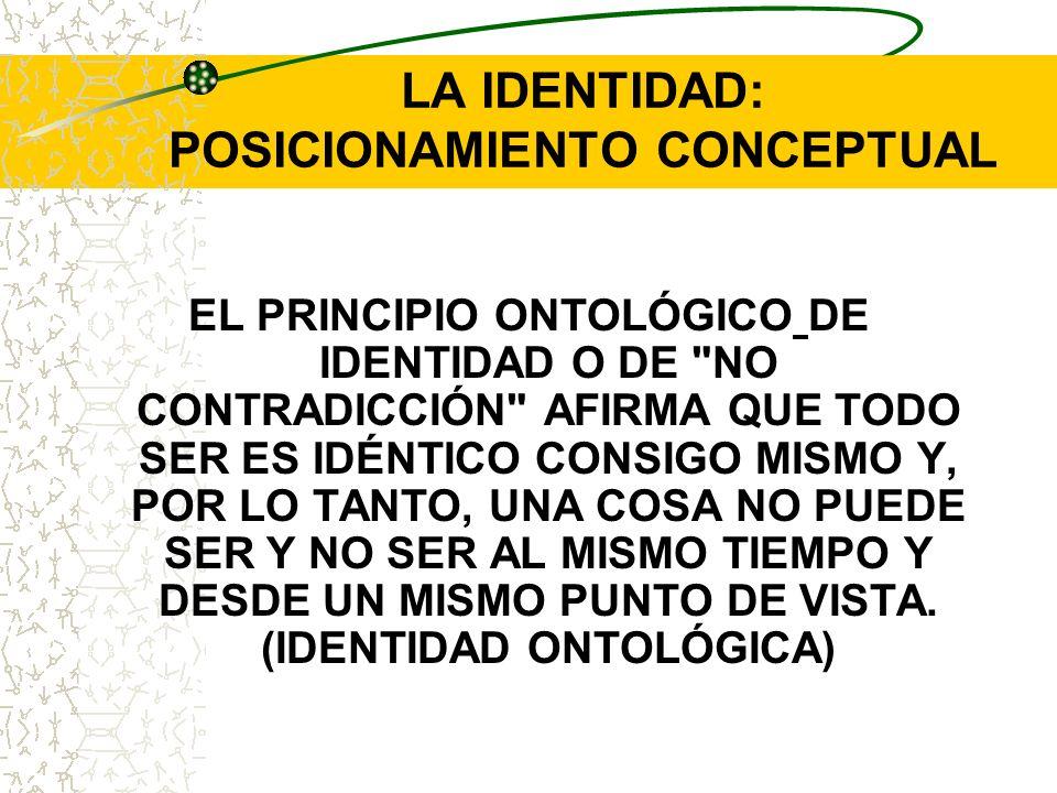 LA IDENTIDAD: POSICIONAMIENTO CONCEPTUAL EL PRINCIPIO ONTOLÓGICO DE IDENTIDAD O DE