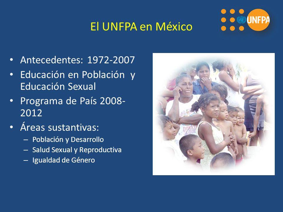 El UNFPA en México Antecedentes: 1972-2007 Educación en Población y Educación Sexual Programa de País 2008- 2012 Áreas sustantivas: – Población y Desarrollo – Salud Sexual y Reproductiva – Igualdad de Género