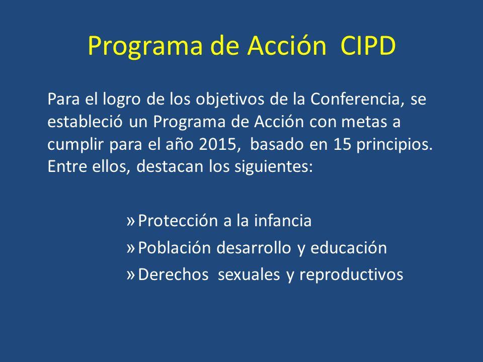 Programa de Acción CIPD Para el logro de los objetivos de la Conferencia, se estableció un Programa de Acción con metas a cumplir para el año 2015, basado en 15 principios.