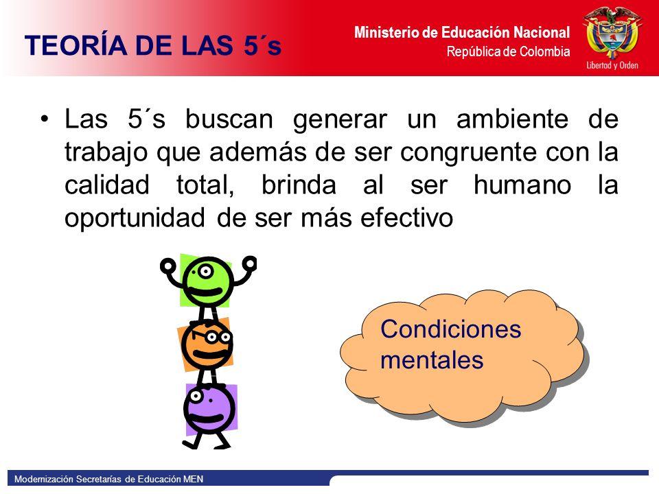 Modernización Secretarías de Educación MEN Ministerio de Educación Nacional República de Colombia Las 5´s buscan generar un ambiente de trabajo que además de ser congruente con la calidad total, brinda al ser humano la oportunidad de ser más efectivo Condiciones mentales TEORÍA DE LAS 5´s