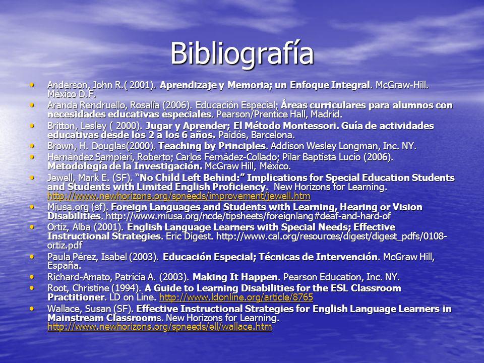 Bibliografía Anderson, John R.( 2001). Aprendizaje y Memoria; un Enfoque Integral. McGraw-Hill. México D.F. Anderson, John R.( 2001). Aprendizaje y Me